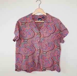 Vintage 90s GAP | Paisley Button Front Blouse